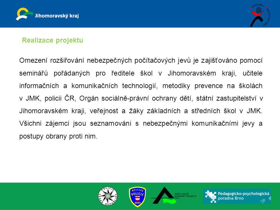 Omezení rozšiřování nebezpečných počítačových jevů je zajišťováno pomocí seminářů pořádaných pro ředitele škol v Jihomoravském kraji, učitele informač