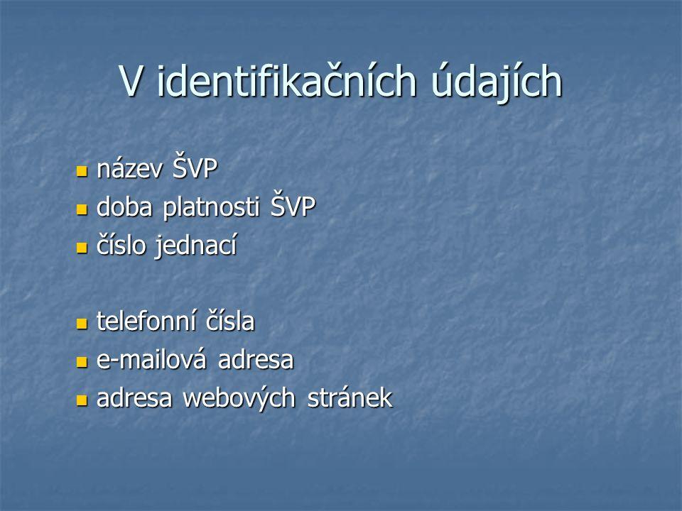 V identifikačních údajích název ŠVP název ŠVP doba platnosti ŠVP doba platnosti ŠVP číslo jednací číslo jednací telefonní čísla telefonní čísla e-mail