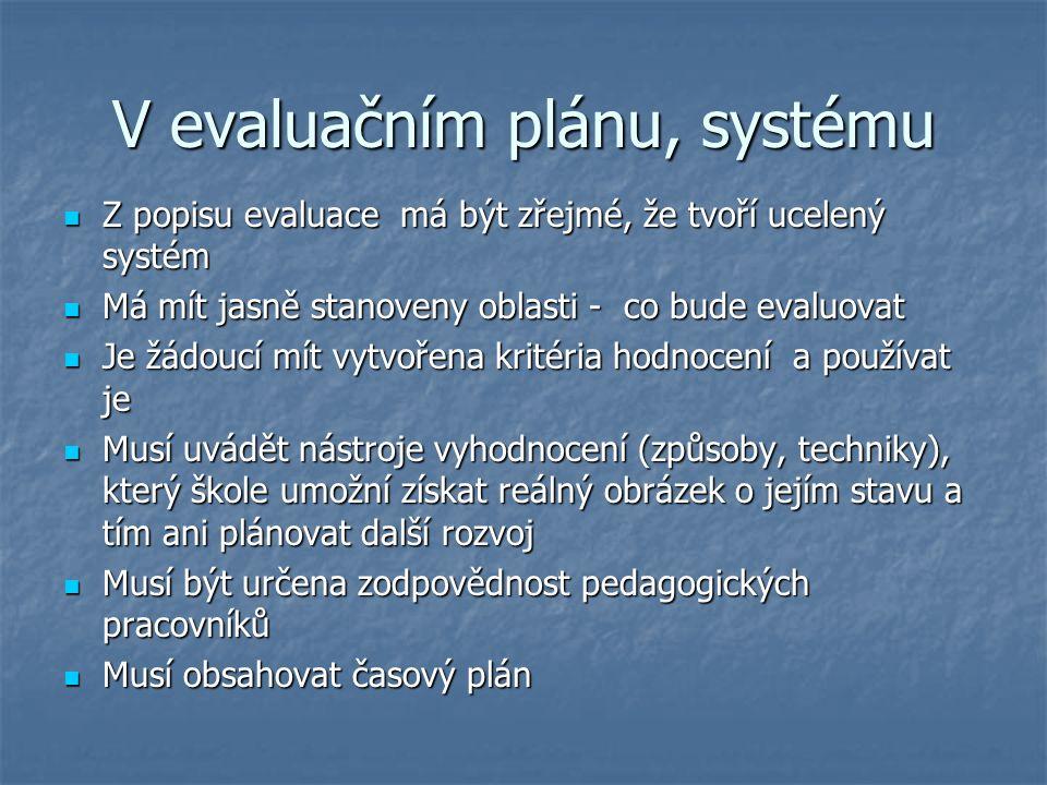 V evaluačním plánu, systému Z popisu evaluace má být zřejmé, že tvoří ucelený systém Z popisu evaluace má být zřejmé, že tvoří ucelený systém Má mít j