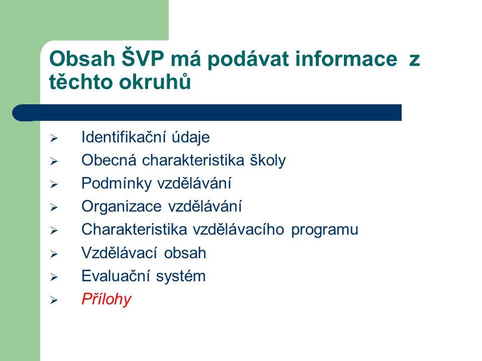 Obsah ŠVP má podávat informace z těchto okruhů  Identifikační údaje  Obecná charakteristika školy  Podmínky vzdělávání  Organizace vzdělávání  Ch