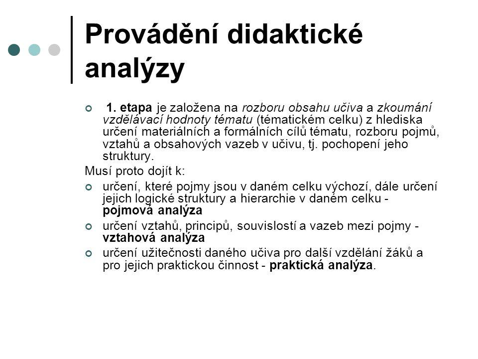 Provádění didaktické analýzy 1.