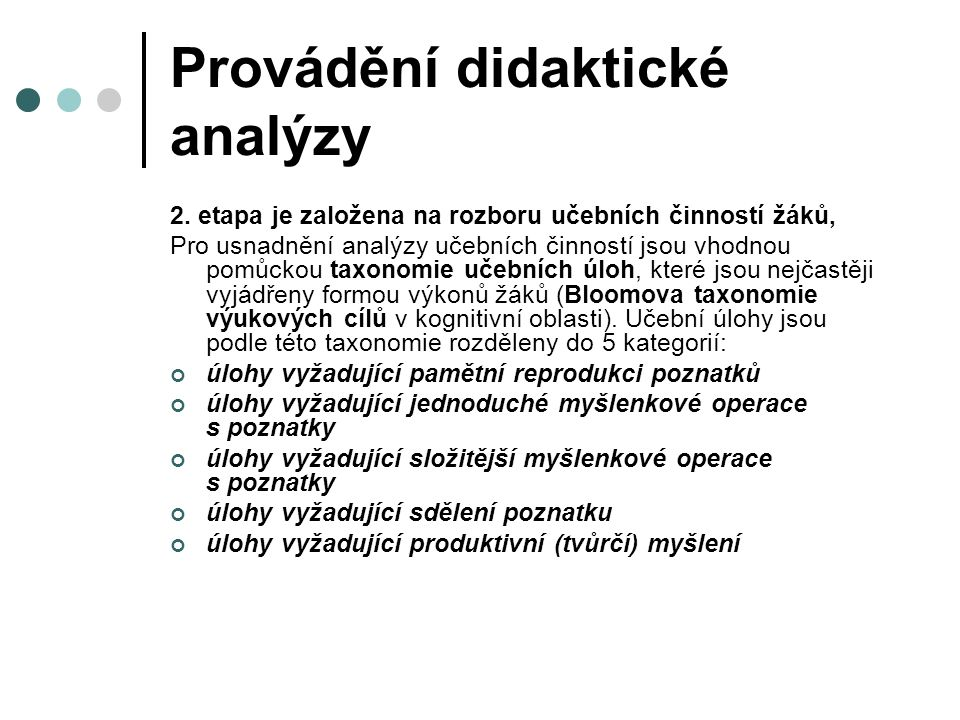 Provádění didaktické analýzy 2.