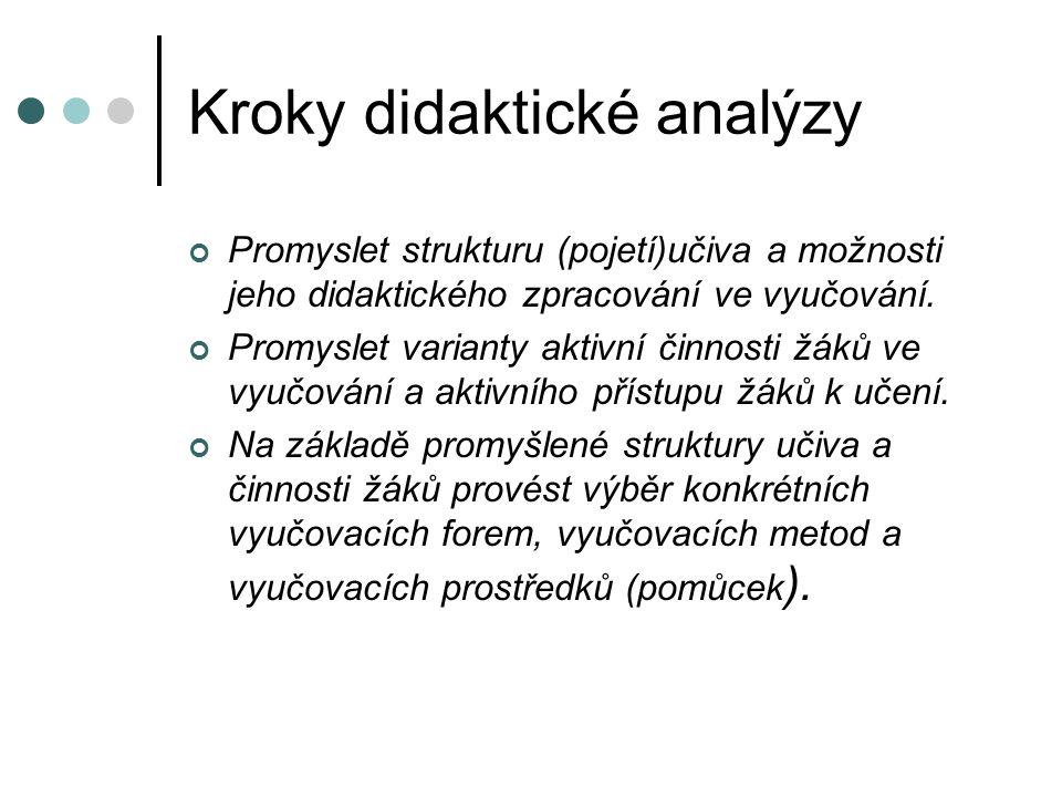 Kroky didaktické analýzy Promyslet strukturu (pojetí)učiva a možnosti jeho didaktického zpracování ve vyučování.