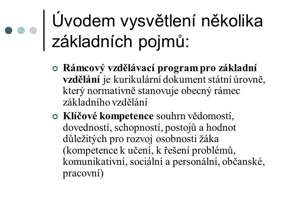 Úvodem vysvětlení několika základních pojmů: Rámcový vzdělávací program pro základní vzdělání je kurikulární dokument státní úrovně, který normativně stanovuje obecný rámec základního vzdělání Klíčové kompetence souhrn vědomostí, dovedností, schopností, postojů a hodnot důležitých pro rozvoj osobnosti žáka (kompetence k učení, k řešení problémů, komunikativní, sociální a personální, občanské, pracovní)