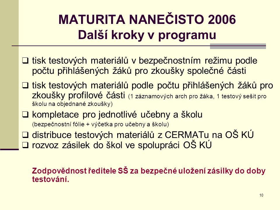 10 MATURITA NANEČISTO 2006 Další kroky v programu  tisk testových materiálů v bezpečnostním režimu podle počtu přihlášených žáků pro zkoušky společné