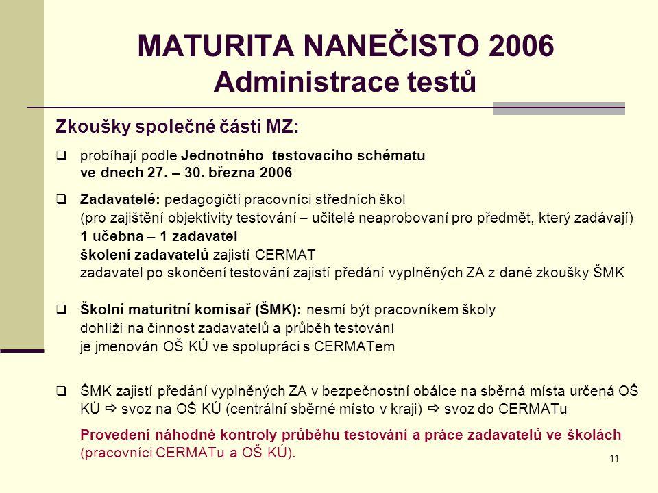 11 MATURITA NANEČISTO 2006 Administrace testů Zkoušky společné části MZ:  probíhají podle Jednotného testovacího schématu ve dnech 27. – 30. března 2