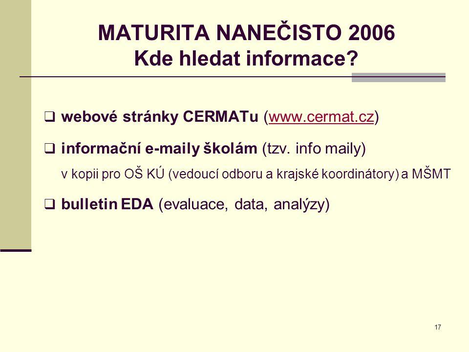 17 MATURITA NANEČISTO 2006 Kde hledat informace?  webové stránky CERMATu (www.cermat.cz)www.cermat.cz  informační e-maily školám (tzv. info maily) v