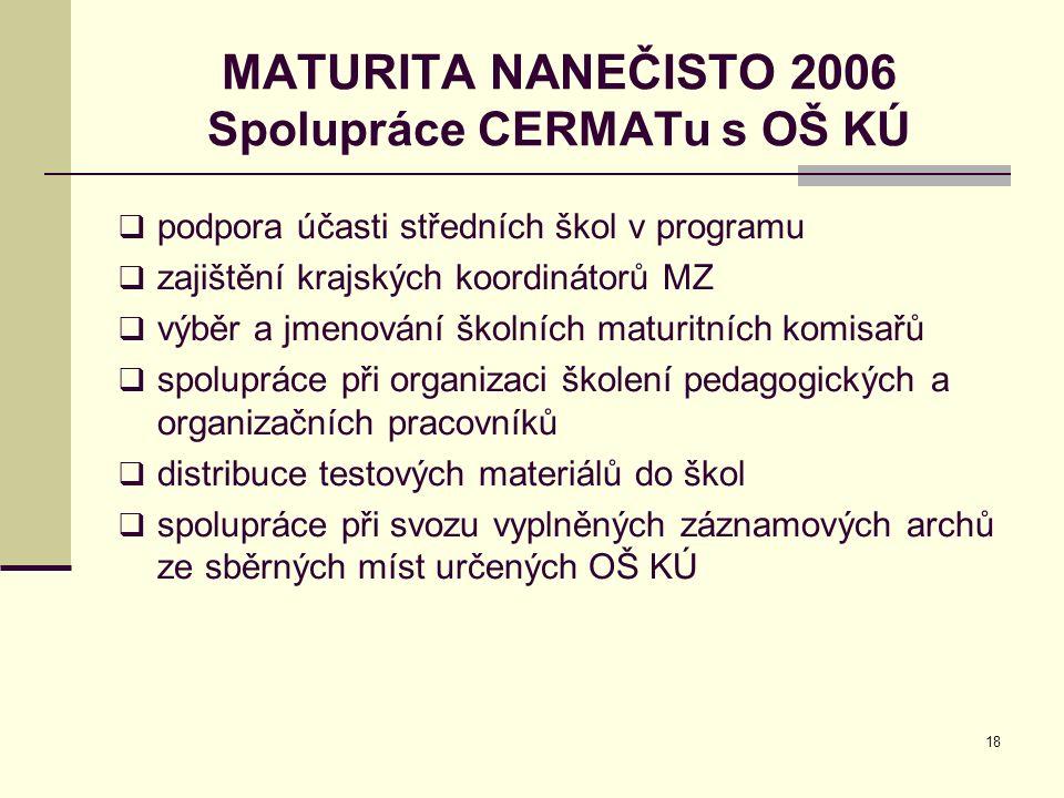 18 MATURITA NANEČISTO 2006 Spolupráce CERMATu s OŠ KÚ  podpora účasti středních škol v programu  zajištění krajských koordinátorů MZ  výběr a jmeno