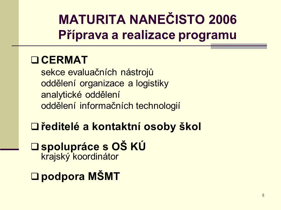 6 MATURITA NANEČISTO 2006 Příprava a realizace programu  CERMAT sekce evaluačních nástrojů oddělení organizace a logistiky analytické oddělení oddělení informačních technologií  ředitelé a kontaktní osoby škol  spolupráce s OŠ KÚ krajský koordinátor  podpora MŠMT