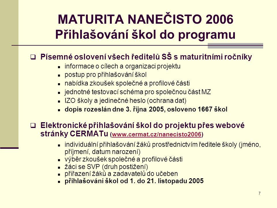 7 MATURITA NANEČISTO 2006 Přihlašování škol do programu  Písemné oslovení všech ředitelů SŠ s maturitními ročníky informace o cílech a organizaci pro