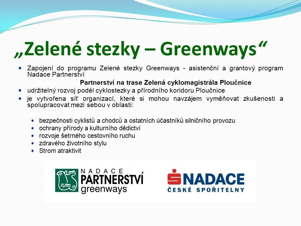 Partnerství na trase Zelená cyklomagistrála Ploučnice Memorandum o spolupráci 47 Partnerských smluv 21 měst a obcí, Liberecký kraj, 9 škol, 6 podnikatelských subjektů a s.p., 10 neziskových, příspěvkových a obecně prospěšných organizací
