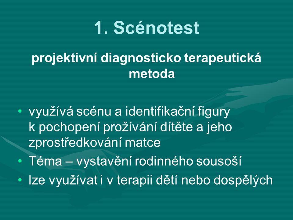 1. Scénotest projektivní diagnosticko terapeutická metoda využívá scénu a identifikační figury k pochopení prožívání dítěte a jeho zprostředkování mat