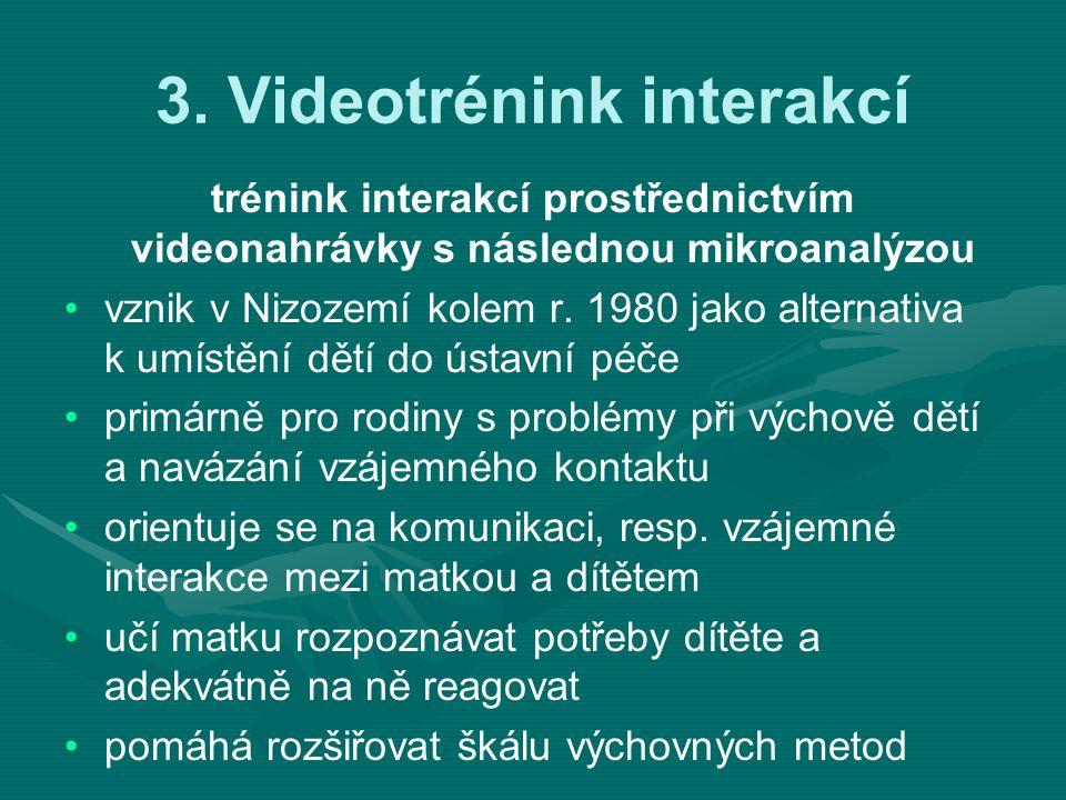 3. Videotrénink interakcí trénink interakcí prostřednictvím videonahrávky s následnou mikroanalýzou vznik v Nizozemí kolem r. 1980 jako alternativa k
