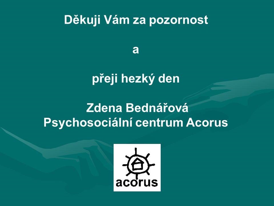 Děkuji Vám za pozornost a přeji hezký den Zdena Bednářová Psychosociální centrum Acorus
