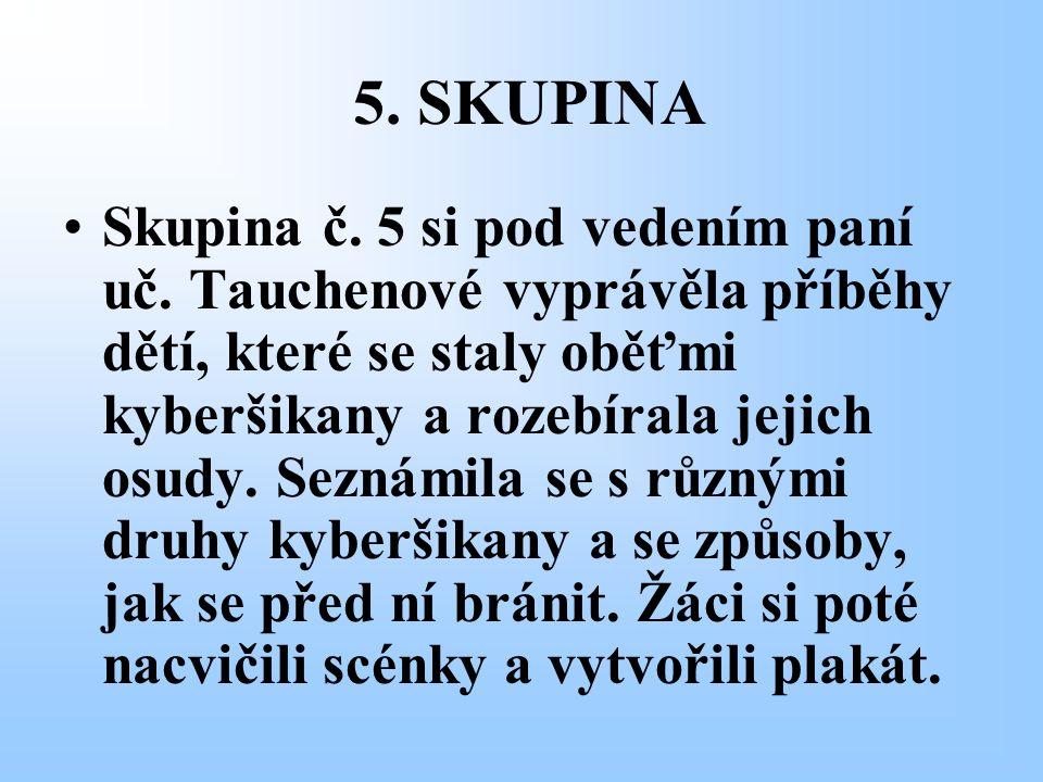 5. SKUPINA Skupina č. 5 si pod vedením paní uč. Tauchenové vyprávěla příběhy dětí, které se staly oběťmi kyberšikany a rozebírala jejich osudy. Seznám