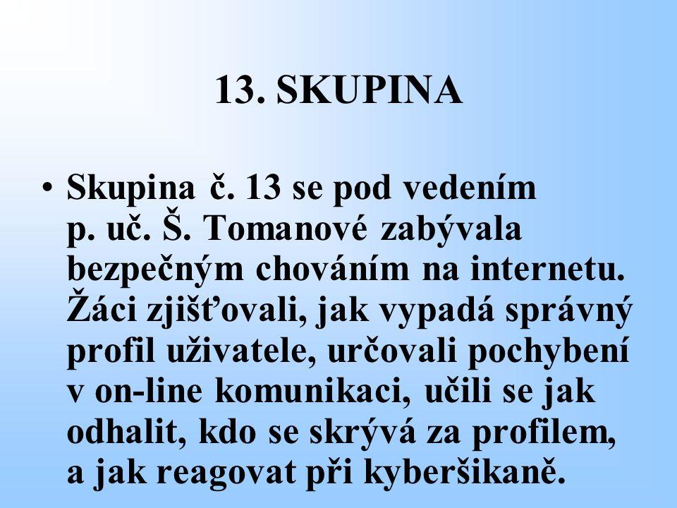 13. SKUPINA Skupina č. 13 se pod vedením p. uč. Š. Tomanové zabývala bezpečným chováním na internetu. Žáci zjišťovali, jak vypadá správný profil uživa