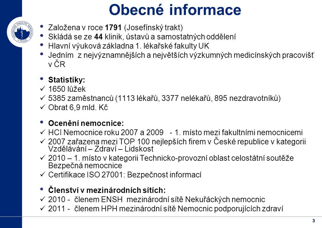 3 Obecné informace Založena v roce 1791 (Josefínský trakt) Skládá se ze 44 klinik, ústavů a samostatných oddělení Hlavní výuková základna 1.