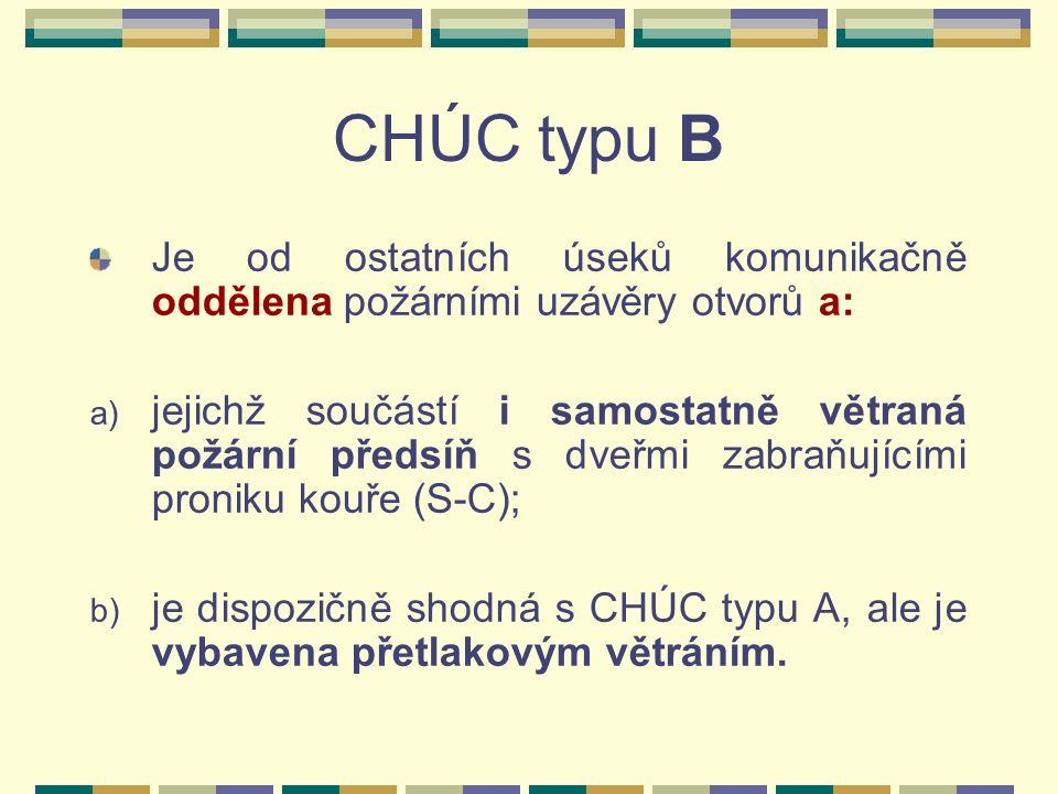 CHÚC typu B Je od ostatních úseků komunikačně oddělena požárními uzávěry otvorů a: a) jejichž součástí i samostatně větraná požární předsíň s dveřmi zabraňujícími proniku kouře (S-C); b) je dispozičně shodná s CHÚC typu A, ale je vybavena přetlakovým větráním.