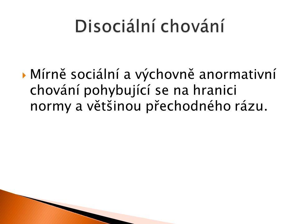  Mírně sociální a výchovně anormativní chování pohybující se na hranici normy a většinou přechodného rázu.