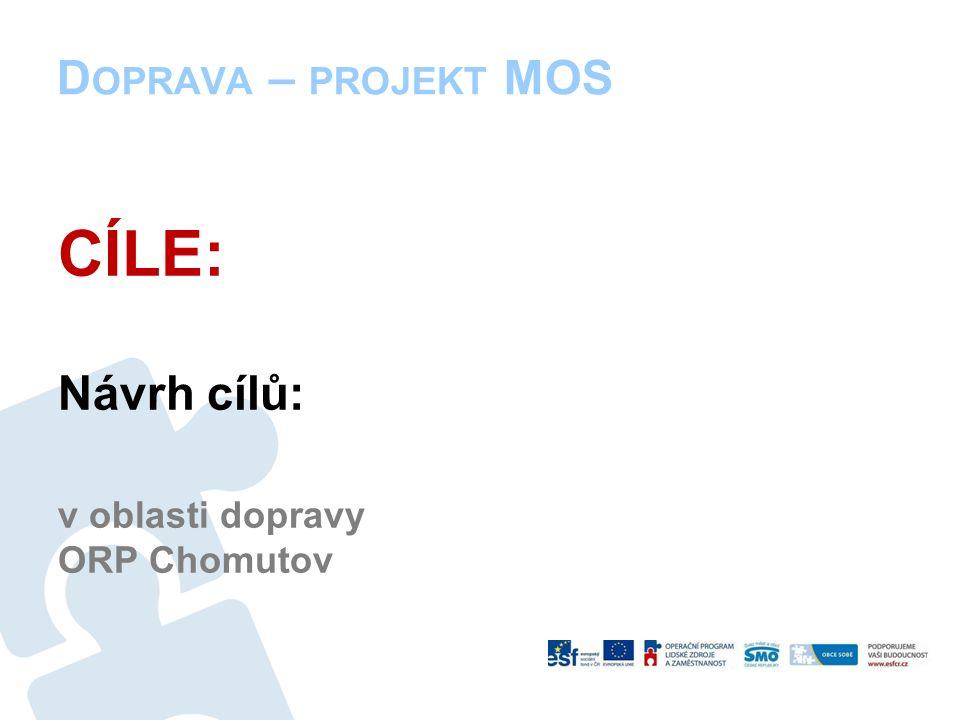 D OPRAVA – PROJEKT MOS CÍLE: Návrh cílů: v oblasti dopravy ORP Chomutov