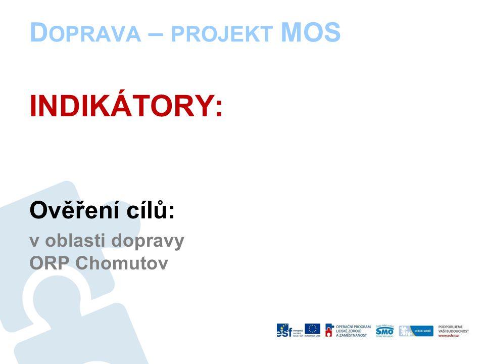 D OPRAVA – PROJEKT MOS INDIKÁTORY: Ověření cílů: v oblasti dopravy ORP Chomutov