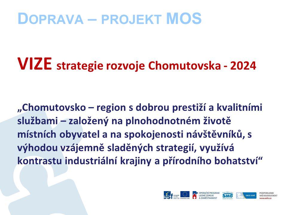 """D OPRAVA – PROJEKT MOS VIZE strategie rozvoje Chomutovska - 2024 """"Chomutovsko – region s dobrou prestiží a kvalitními službami – založený na plnohodnotném životě místních obyvatel a na spokojenosti návštěvníků, s výhodou vzájemně sladěných strategií, využívá kontrastu industriální krajiny a přírodního bohatství"""