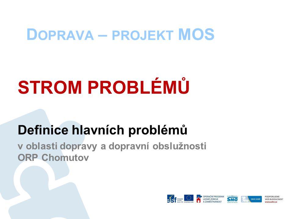 D OPRAVA – PROJEKT MOS STROM PROBLÉMŮ Definice hlavních problémů v oblasti dopravy a dopravní obslužnosti ORP Chomutov
