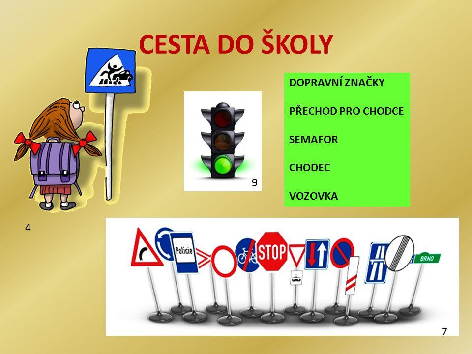 CESTA DO ŠKOLY 4 DOPRAVNÍ ZNAČKY PŘECHOD PRO CHODCE SEMAFOR CHODEC VOZOVKA 7 9