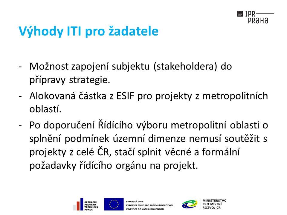 Výhody ITI pro žadatele -Možnost zapojení subjektu (stakeholdera) do přípravy strategie.