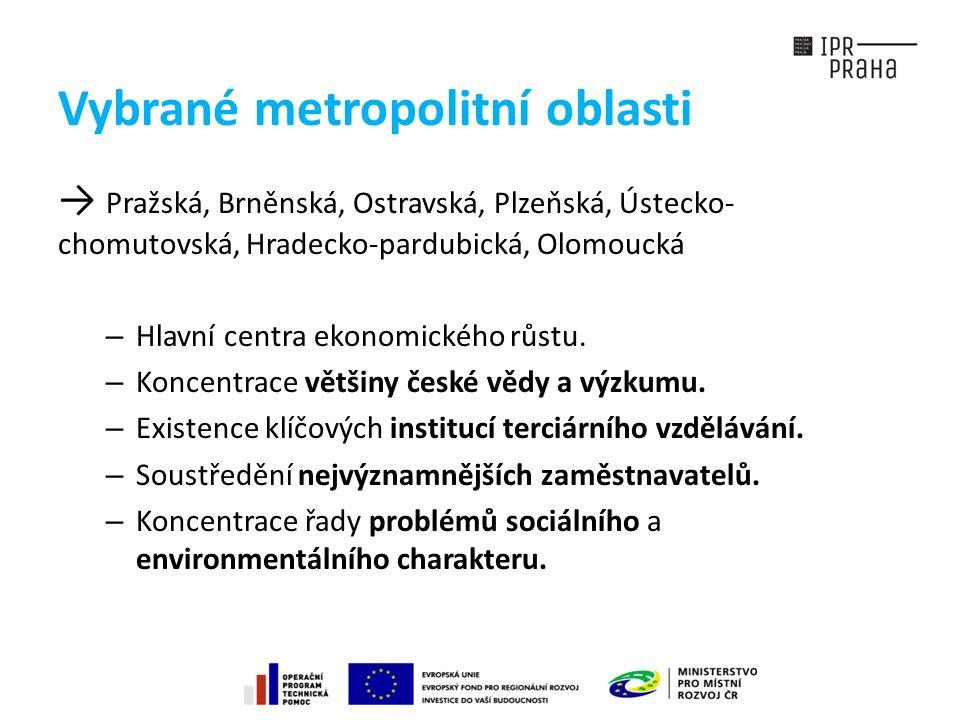 Vybrané metropolitní oblasti → Pražská, Brněnská, Ostravská, Plzeňská, Ústecko- chomutovská, Hradecko-pardubická, Olomoucká – Hlavní centra ekonomického růstu.