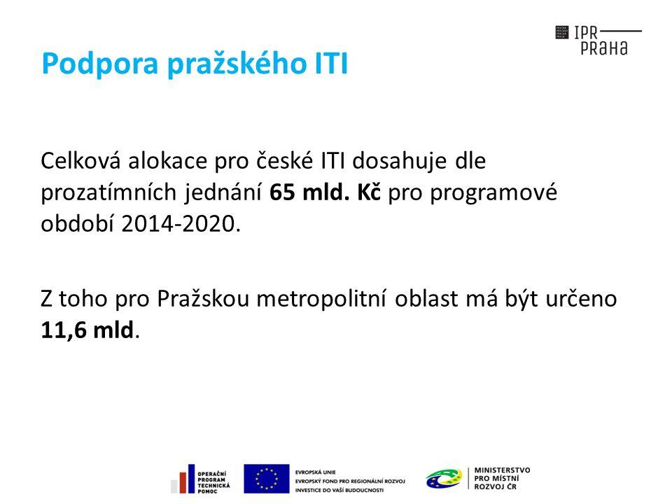 Podpora pražského ITI Celková alokace pro české ITI dosahuje dle prozatímních jednání 65 mld.