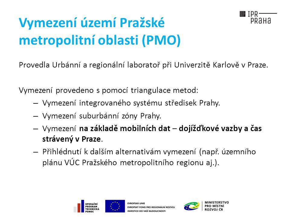 Vymezení území Pražské metropolitní oblasti (PMO) Provedla Urbánní a regionální laboratoř při Univerzitě Karlově v Praze.