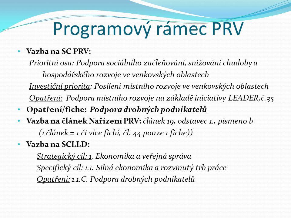Programový rámec PRV Vazba na SC PRV: Prioritní osa: Podpora sociálního začleňování, snižování chudoby a hospodářského rozvoje ve venkovských oblastech Investiční priorita: Posílení místního rozvoje ve venkovských oblastech Opatření: Podpora místního rozvoje na základě iniciativy LEADER,č.35 Opatření/fiche: Podpora drobných podnikatelů Vazba na článek Nařízení PRV: článek 19, odstavec 1., písmeno b (1 článek = 1 či více fichí, čl.