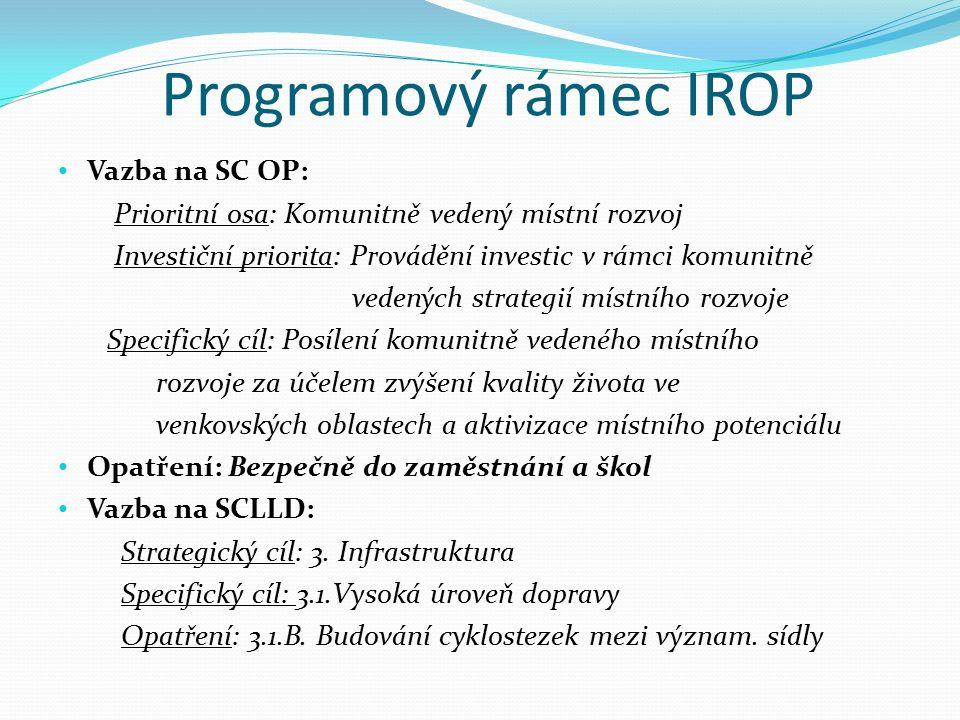 Programový rámec IROP Vazba na SC OP: Prioritní osa: Komunitně vedený místní rozvoj Investiční priorita: Provádění investic v rámci komunitně vedených strategií místního rozvoje Specifický cíl: Posílení komunitně vedeného místního rozvoje za účelem zvýšení kvality života ve venkovských oblastech a aktivizace místního potenciálu Opatření: Bezpečně do zaměstnání a škol Vazba na SCLLD: Strategický cíl: 3.