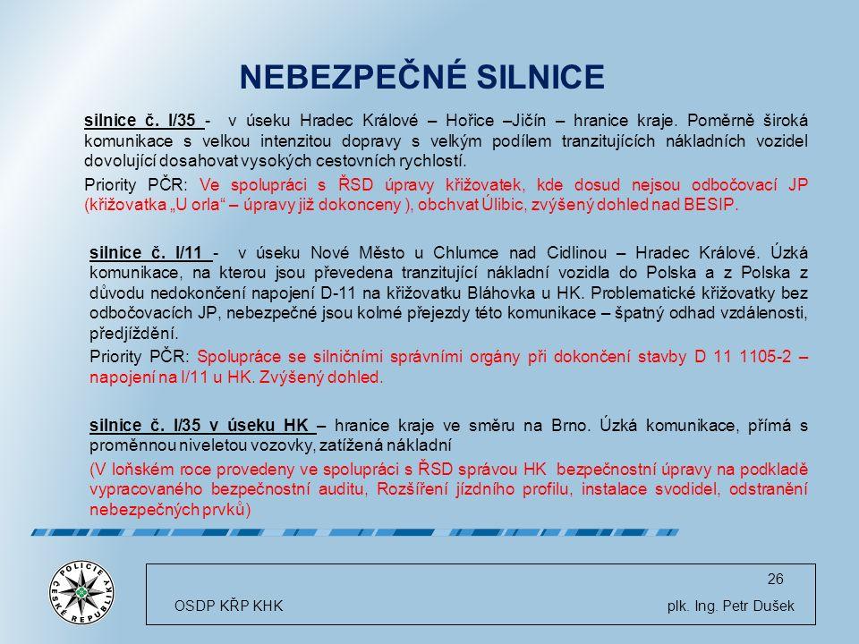 OSDP KŘP KHK plk.Ing. Petr Dušek 26 NEBEZPEČNÉ SILNICE silnice č.