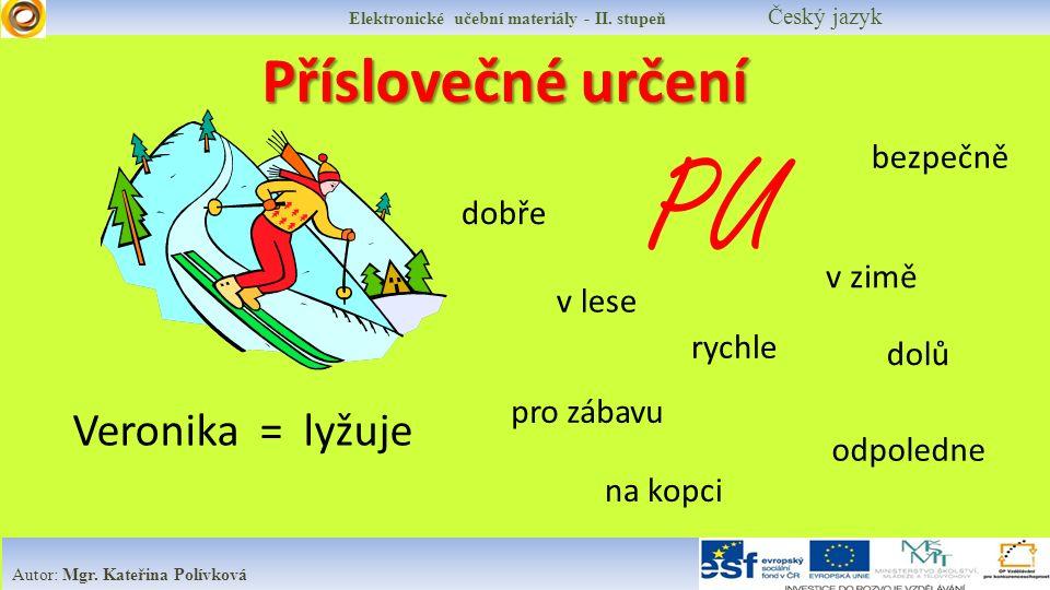 Elektronické učební materiály - II.stupeň Český jazyk Autor: Mgr.