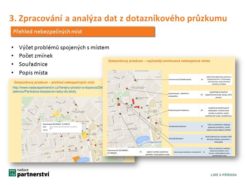 3. Zpracování a analýza dat z dotazníkového průzkumu Přehled nebezpečných míst Výčet problémů spojených s místem Počet zmínek Souřadnice Popis místa