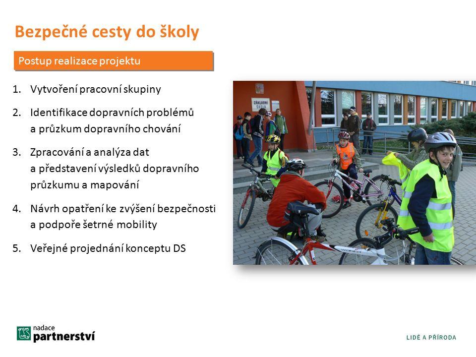 Bezpečné cesty do školy 1.Vytvoření pracovní skupiny 2.Identifikace dopravních problémů a průzkum dopravního chování 3.Zpracování a analýza dat a představení výsledků dopravního průzkumu a mapování 4.Návrh opatření ke zvýšení bezpečnosti a podpoře šetrné mobility 5.Veřejné projednání konceptu DS Postup realizace projektu