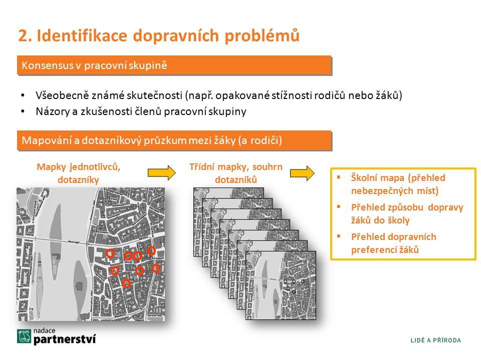 2. Identifikace dopravních problémů Konsensus v pracovní skupině Všeobecně známé skutečnosti (např.