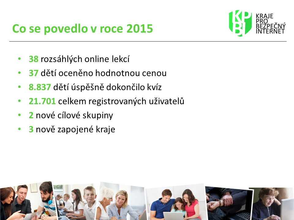 Co se povedlo v roce 2015 38 rozsáhlých online lekcí 37 dětí oceněno hodnotnou cenou 8.837 dětí úspěšně dokončilo kvíz 21.701 celkem registrovaných uživatelů 2 nové cílové skupiny 3 nově zapojené kraje