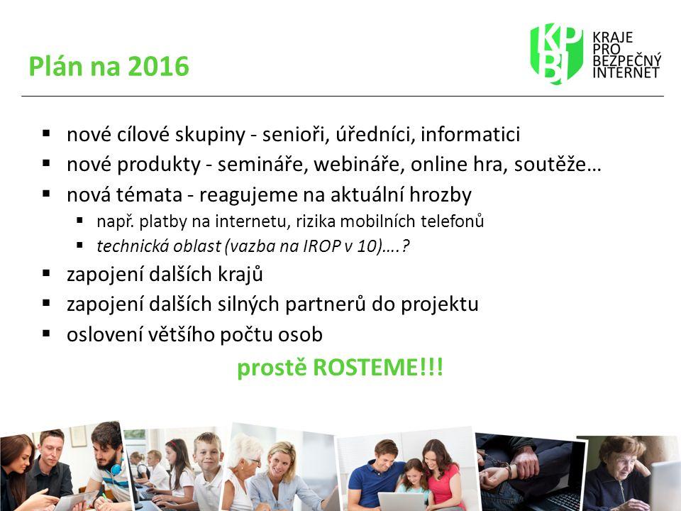 Plán na 2016  nové cílové skupiny - senioři, úředníci, informatici  nové produkty - semináře, webináře, online hra, soutěže…  nová témata - reagujeme na aktuální hrozby  např.