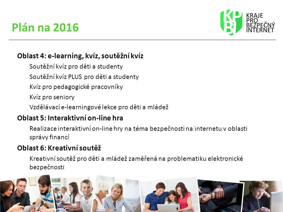 Plán na 2016 Oblast 4: e-learning, kvíz, soutěžní kvíz Soutěžní kvíz pro děti a studenty Soutěžní kvíz PLUS pro děti a studenty Kvíz pro pedagogické pracovníky Kvíz pro seniory Vzdělávací e-learningové lekce pro děti a mládež Oblast 5: Interaktivní on-line hra Realizace interaktivní on-line hry na téma bezpečnosti na internetu v oblasti správy financí Oblast 6: Kreativní soutěž Kreativní soutěž pro děti a mládež zaměřená na problematiku elektronické bezpečnosti