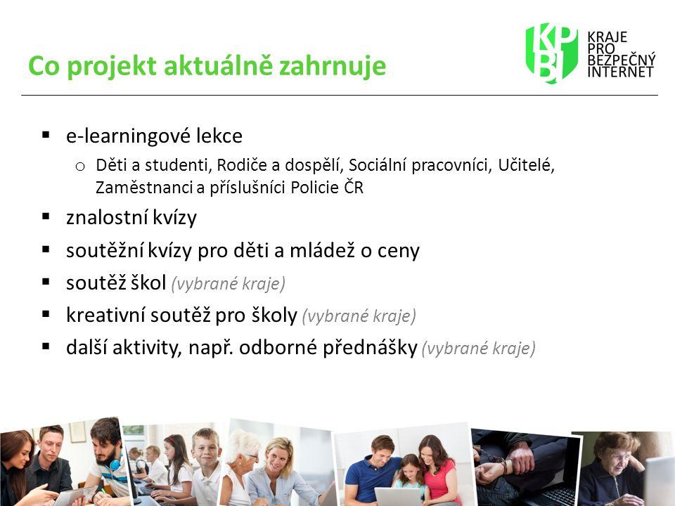 Co projekt aktuálně zahrnuje  e-learningové lekce o Děti a studenti, Rodiče a dospělí, Sociální pracovníci, Učitelé, Zaměstnanci a příslušníci Policie ČR  znalostní kvízy  soutěžní kvízy pro děti a mládež o ceny  soutěž škol (vybrané kraje)  kreativní soutěž pro školy (vybrané kraje)  další aktivity, např.