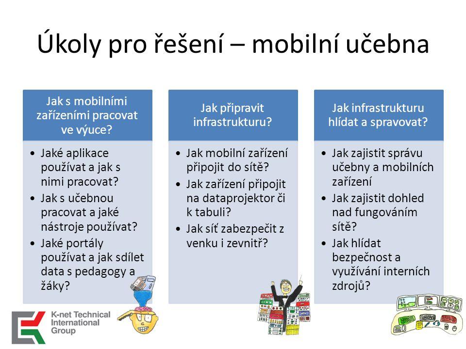 Úkoly pro řešení – mobilní učebna Jak s mobilními zařízeními pracovat ve výuce.