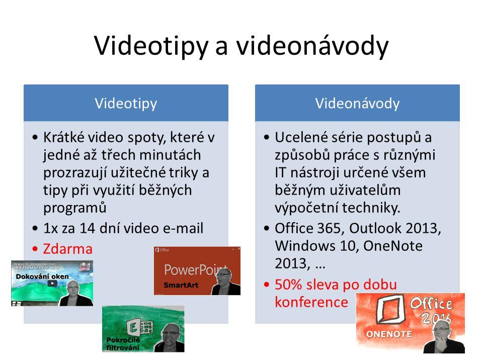 Videotipy a videonávody Videotipy Krátké video spoty, které v jedné až třech minutách prozrazují užitečné triky a tipy při využití běžných programů 1x za 14 dní video e-mail Zdarma Videonávody Ucelené série postupů a způsobů práce s různými IT nástroji určené všem běžným uživatelům výpočetní techniky.