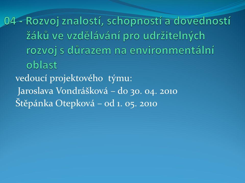 vedoucí projektového týmu: Jaroslava Vondrášková – do 30.
