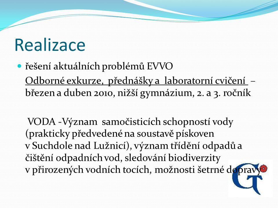Realizace řešení aktuálních problémů EVVO Odborné exkurze, přednášky a laboratorní cvičení – březen a duben 2010, nižší gymnázium, 2.