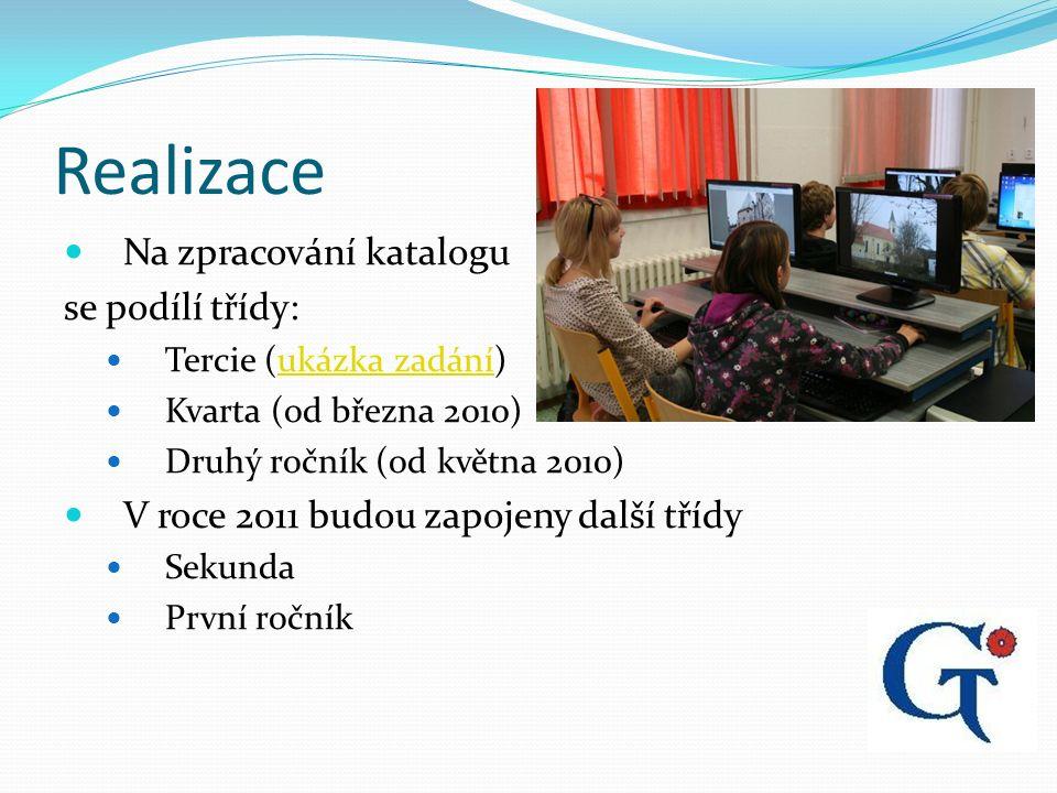 Realizace Na zpracování katalogu se podílí třídy: Tercie (ukázka zadání)ukázka zadání Kvarta (od března 2010) Druhý ročník (od května 2010) V roce 2011 budou zapojeny další třídy Sekunda První ročník