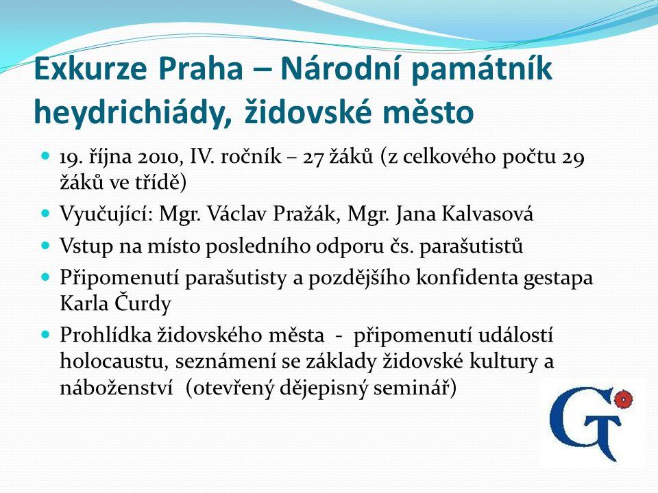 Exkurze Praha – Národní památník heydrichiády, židovské město 19.