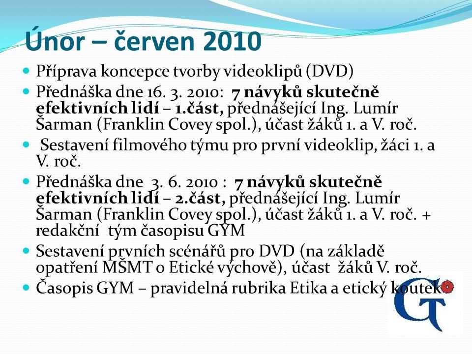 Únor – červen 2010 Příprava koncepce tvorby videoklipů (DVD) Přednáška dne 16.